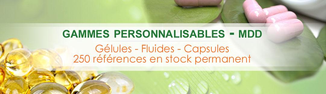 Gammes personnalisables - MDD - Gélules - FLuides - Capsules - 250 références en stock permanent